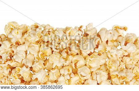 Fresh Popcorn With The Copy Space On The White Background