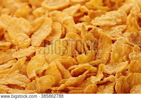Corn Flakes Background Texture Close Up