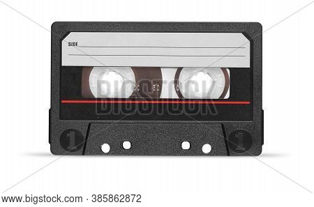 Old Audio Tape Compact Cassette With Blank Label Isolated