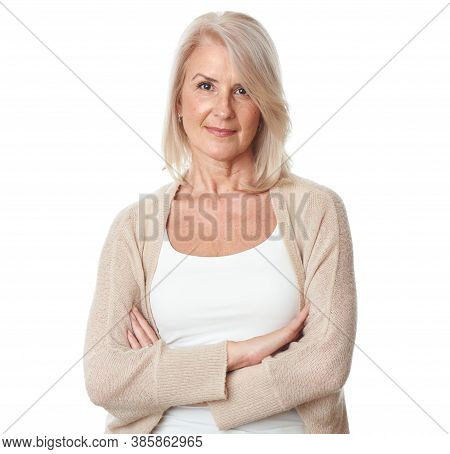 Portrait Of Beautiful Mature Woman Isolated On White