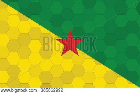 French Guiana Flag Illustration. Futuristic French Guianan Flag Graphic With Abstract Hexagon Backgr