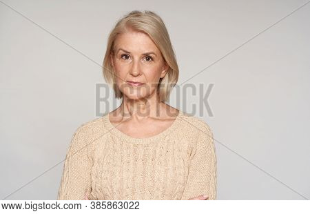 Beautiful Mature Woman Smiling Isolated