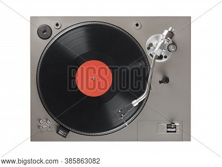 Old Turntable With Lp Vinyl Record Top View. Clipping Path