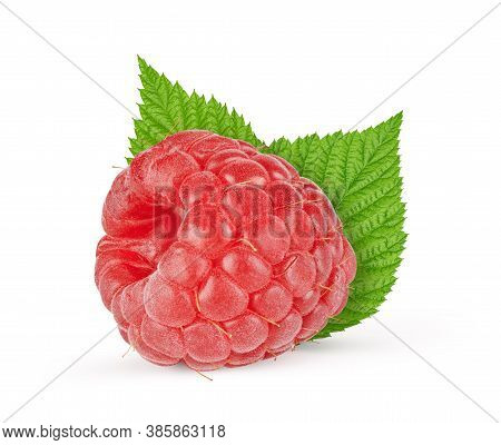 Raspberry With Leaves Isolated On White Background