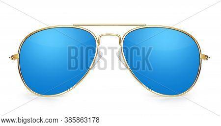Blue Aviator Sunglasses Isolated On White