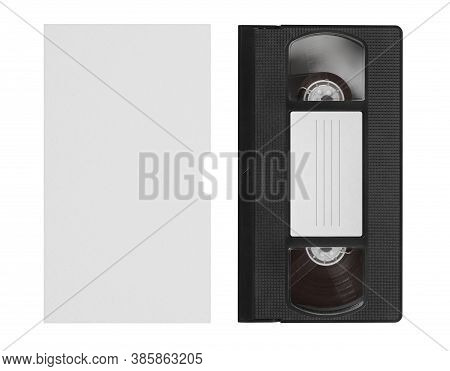 Blank Vhs Video Tape Mockup. Analog Movie Cassette Box With Copy Space