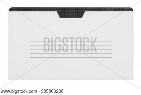 Blank Vhs Video Tape Mockup. Analog Movie Cassette Box With Copy Space. Clipping Path