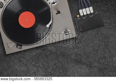 Vintage Turntable With Vinyl Lp Record. Top View