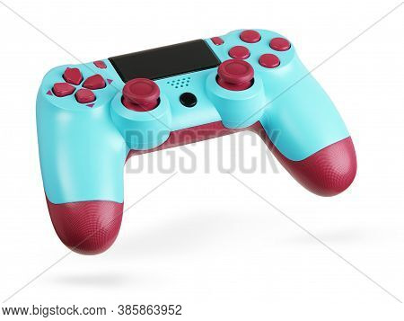Color Game Controller. Gamepad For Video Games Isolated On White Background With Clipping Path