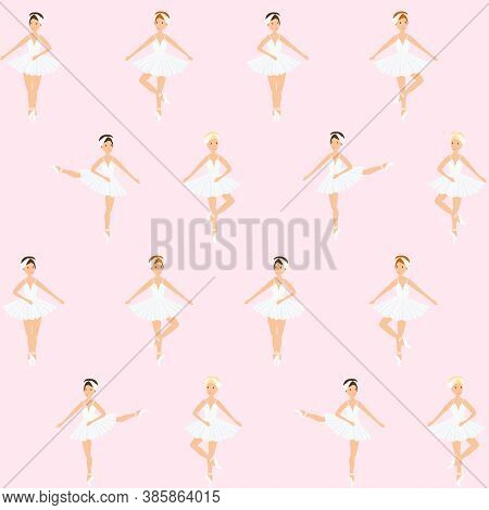 Ballerina, Ballet Dance, Little Swans. Seamless Pattern, Set. Swan Lake Stage. Vector Graphics Illus