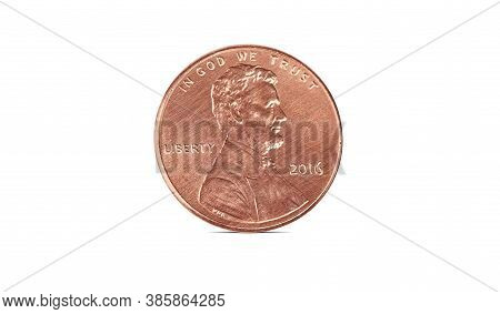 American Cent Coin Isolated On White Background With Clipping Path