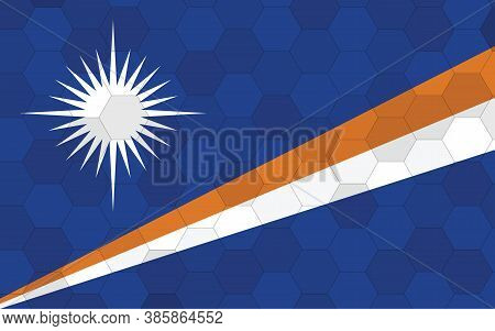 Marshall Islands Flag Illustration. Futuristic Marshallese Flag Graphic With Abstract Hexagon Backgr