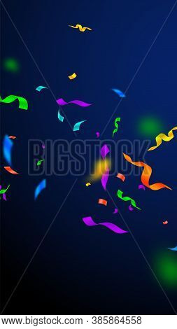 Streamers And Confetti. Festive Streamers Tinsel And Foil Ribbons. Confetti Falling Rain On Dark Blu