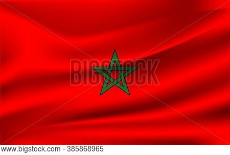 National Flag Of Morocco. Realistic Vector Illustration. Realistic Waving Flag Of Morocco. Eps 10