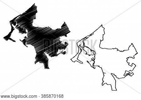 Cartagena City (republic Of Colombia, Bolivar Department) Map Vector Illustration, Scribble Sketch C