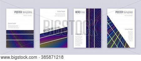 Geometric Brochure Design Template Set. Rainbow Abstract Lines On Dark Blue Background. Alluring Bro