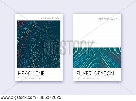 Minimal Cover Design Template Set. Red White Blue Abstract Lines On Dark Background. Dramatic Cover