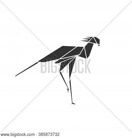 Secretary Bird Logo Polygonal Symbol Illustration - Bird Wildlife Nature Wing And Long Legs Predator
