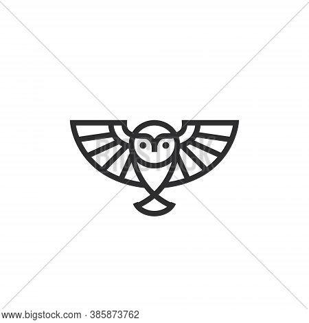 Owl Logo Design Illustration - Smart Wise Bird Vector Animal - Cute Wing Symbol Feather Flying Masco
