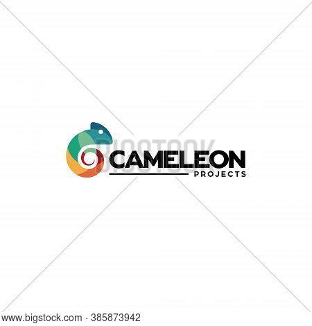 Chameleon Logo Silhouette - Animal Reptile Lizard Green Wildlife Vector Cartoon Exotic Mascot Camouf