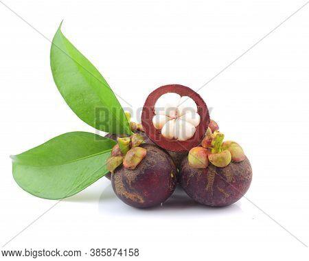 Close Up Of Thai Mangosteen Fruit On White Background