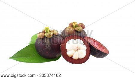 Group Of Fresh Ripe  Mangosteens Isolated On White