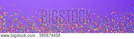 Festive Positive Confetti. Celebration Stars. Joyous Confetti On Violet Background. Adorable Festive