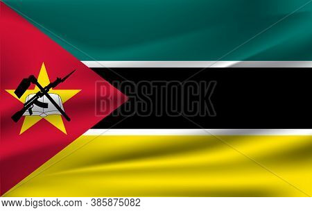 Flag Of Mozambique. Realistic Waving Flag Of Republic Of Mozambique. Fabric Textured Flowing Flag