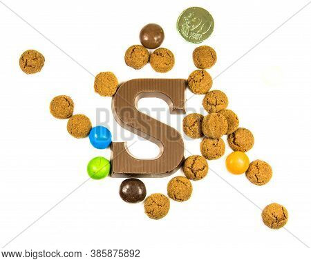 Set Of Pepernoten Strooigoed With Chocolate Letter S, Top View On White Background For Annual Sinter
