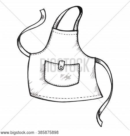 Hand Drawing Apron With Pocket. Vector Illustration Isolated On White Background. Kitchen Stuff. Pin