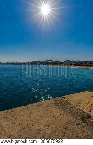 San Sebastian Ondarreta Beach, La Concha Bay.cantabrian Sea, Basque Country, Spain, Euskadi. Sun For