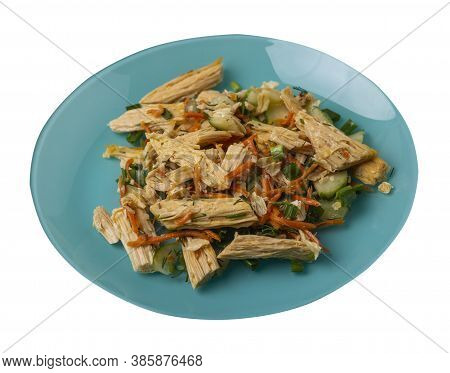 Salad With Soy Asparagus And Carrots, Cucumbers And Dumplings On Turquoise Plate. Vegetarian Soy Sal