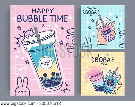 Bubble Tea Banner. Famous Drink Asian Bubble Tea, Taiwanese Green Or Fruit Tea With Balls In Plastic