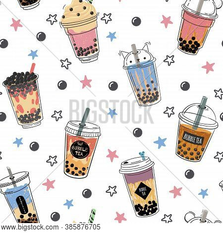 Bubble Tea Seamless Pattern. Popular Asian Cold Drink, Pearl Milk Tea, Trendy Breakfast Taiwanese Bo
