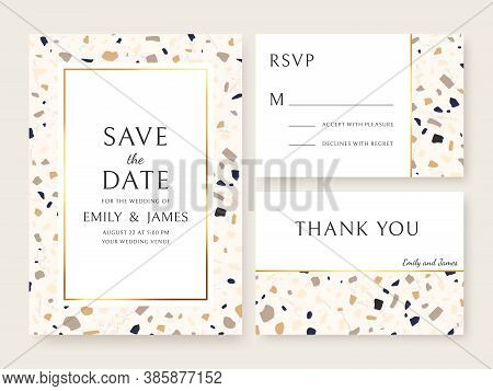 Terrazzo Wedding Invitation Card. Abstract Design Template Bridal Flyers With Marble Texture, Save D