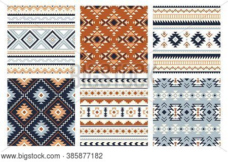 Tribal Indian Seamless Pattern. Color Mexican, Aztec And Maya Ornament, Ethnic Stylish Fabric Geomet