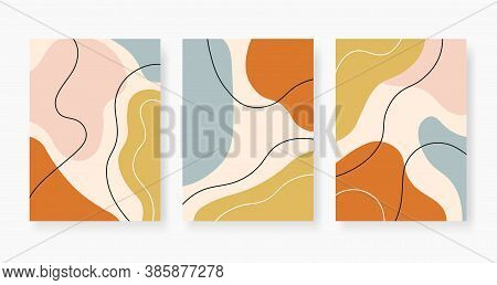 Organic Abstract Shapes. Pastel Colored Random Paint Stains Collage. Trendy Minimal Design With Flui