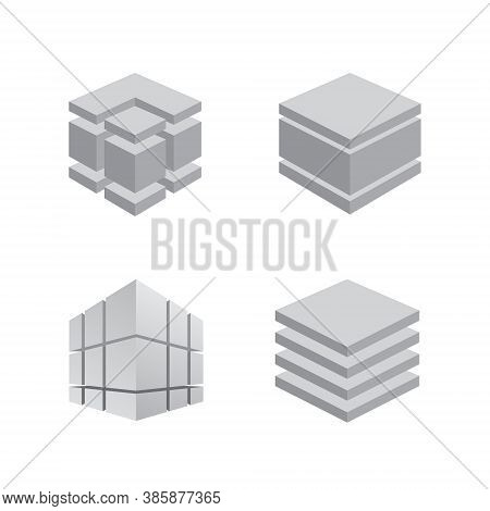 Construction Logo Set Collection - 3d Abstract Engineering Industry Business Project Work House Buil