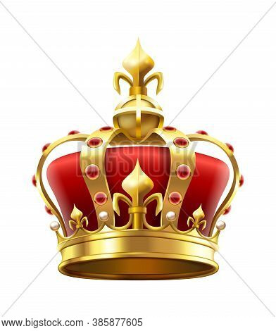 Golden Royal Crown With Jewels. Heraldic Elements, Monarchic Symbol For King. Monarchy Accessory Wit