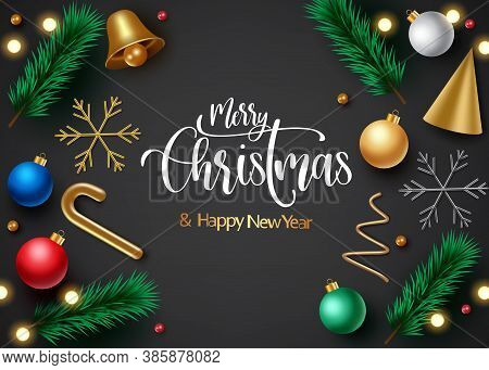 Christmas Vector Background Template Design. Merry Christmas Text With Xmas Elements Like Gifts, Gol