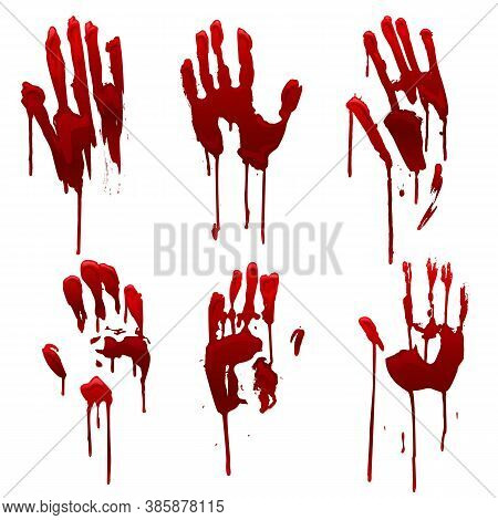 Bleeding Hand Trace, Bloody Hand Prints Set. Horror And Dirty Red Palm For Halloween Decoration. Sca