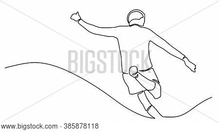 Continuous Line Drawing. The Illustration Shows That A Football Player Is Hitting The Ball. Football