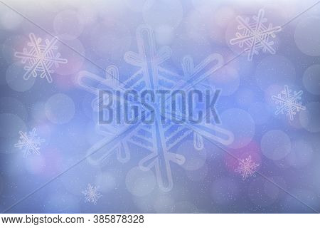 Christmas Icy Background Design With Snowflakes, Snowfall And Bokeh Effect. Vector Illustration For