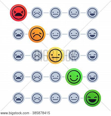 Emotional Scale. Customer Satisfaction Meter. Mood Indicator With Different Emotion Measurement From