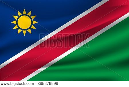 Flag Of Namibia. Realistic Waving Flag Of Republic Of Namibia. Fabric Textured Flowing Flag Of Namib