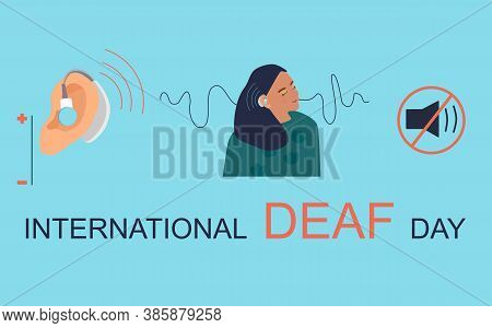 International Deaf Day 23 September Hand Drawn Vector Illustration.young Deaf Girl With Hearing Aid.