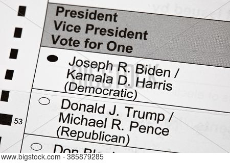 Madison, Wisconsin, Usa - September 17, 2020: A 2020 Presidential Election Voting Ballot Marked To V