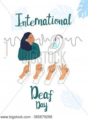 International Deaf Day 23 September Line Art Vector Illustration.young Deaf Girl With Hearing Aid.si
