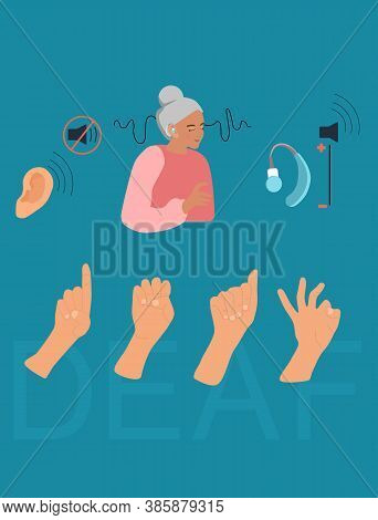 International Deaf Day Flat Vector Illustration.old Deaf Woman With Hearing Aid.sign Language Commun