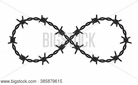 Barbed Wires Twisted Like Infinity Sign. Symbol Of Criminal Lifestyle. Tattoo Design With Editable O